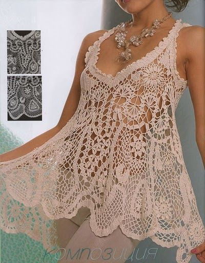 La tunica- beautiful crochet tunic in creme thread