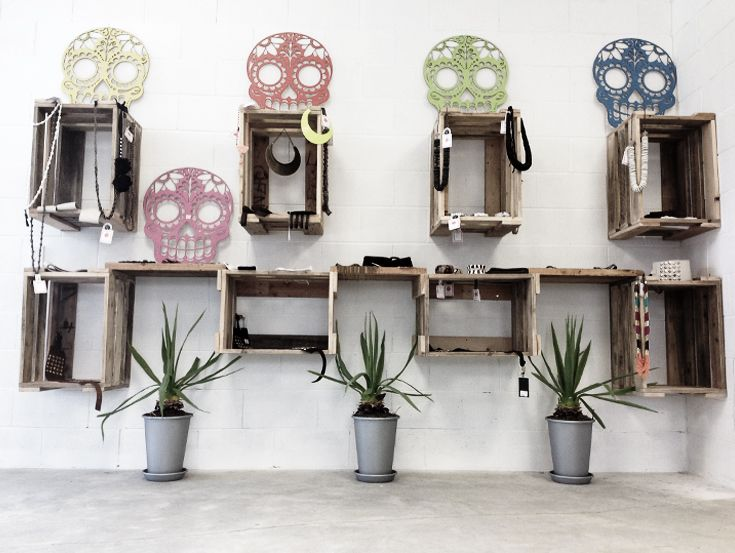 Recycled timber crates for accessory wall.