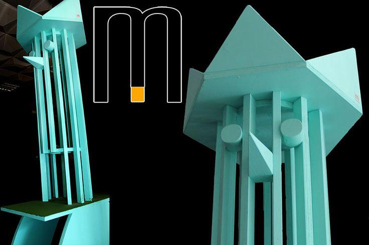 wooden sculpture from recycled materials  Realized Mazzocca laboratorio di innovazioni, designer Riccardo Dalisi