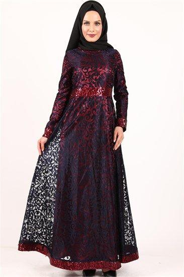 Neşe Yakma Dantelli Kemer Pullu Sarmaşık Desen Elbise Lacivert 2378