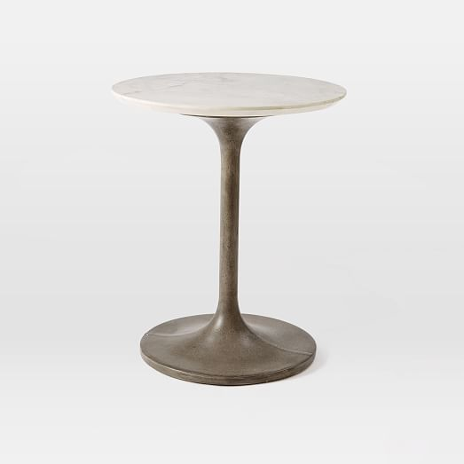 concrete pedestal side table marble top