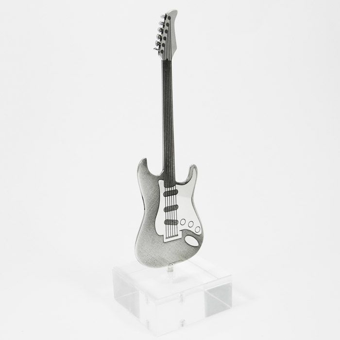 Silver 925° guitar, with laser engraving, placed on acrylic base. By shine4ever.gr.