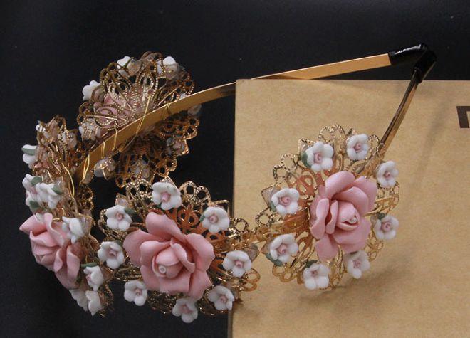 Керамические цветы великолепные стиле барокко Корея преувеличены широкий ленты для волос аксессуары для волос Фото диких розовые пляжные фотографии - Taobao