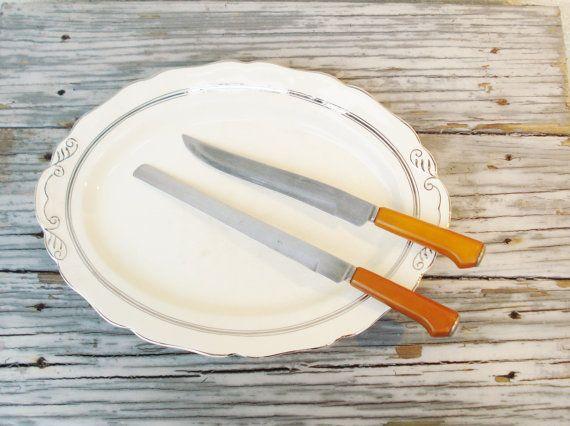 Vintage Kitchen Knives Caramel Bakelite by #AlegriaCollection #atsocialmedia #google #yahoo
