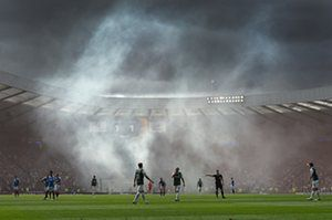 Rangers fans set off flares after Kenny Miller scored during the Scottish Cup final against Hibernian at Hampden Park