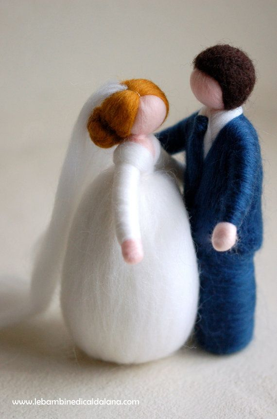 Bride and groom fairy tale inspired wool by LeBambinediCaldalana