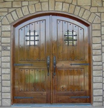 Rustic, U0027castleu0027 Style, Arched Double Door Entry With Speakeasy Windows