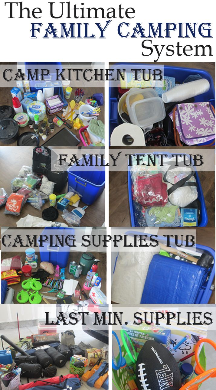 camping packing lists - packing in tubs and lists to go with them  http://www.yourownhomestore.com/family-camping-list/