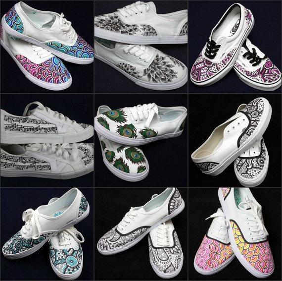 Custom Hand drawn Shoes by JunebugShoeDesigns on Etsy, $40.00