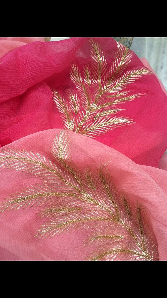 Pure Chiffon Saree with Aari Work by Threadsandblocks on Etsy
