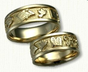 custom wedding band bible cross interlocking wedding bands initials wp dove