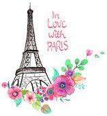 Torre Eiffel con acuarelas flores — Vector de stock #69513871