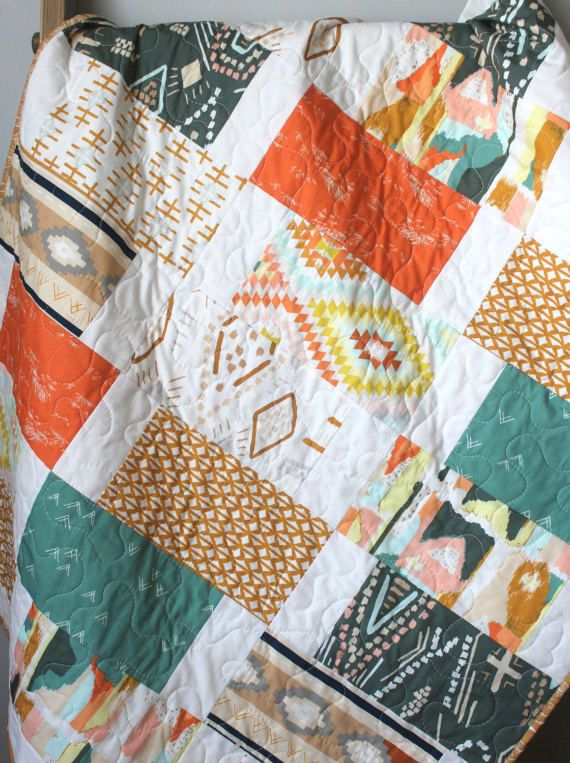 Southwest Baby Quilt-Gender Neutral Quilt-Crib Bedding-Baby Bedding-Kilim Navajo Aztec Desert Baby Quilt-Tribal Nursery Bedding-Boho Nursery