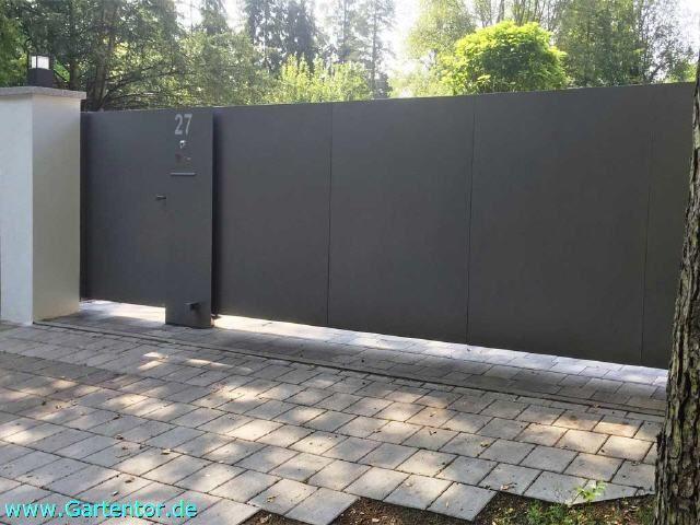 Schiebetore Freitragend Mit Elektrischem Torantrieb Schiebetor Einfahrtstor Eingangstor Design
