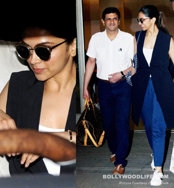 Deepika Padukone is all smiles at the airport with father Prakash Padukone – view pics #FansnStars