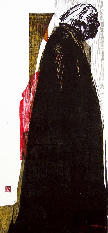 woodcut Portrait of Käthe Kollwitz by German born printmaker Dirk Hagner