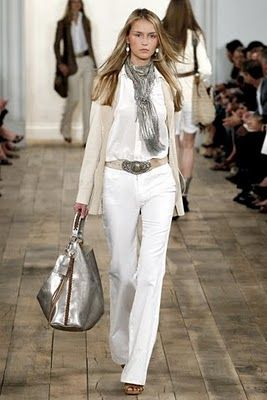 Ralph Lauren: Ralph Lauren, Lauren Spring, Fashion, Style, Fashion Week, Silver, White Outfits, White Pants, Bags