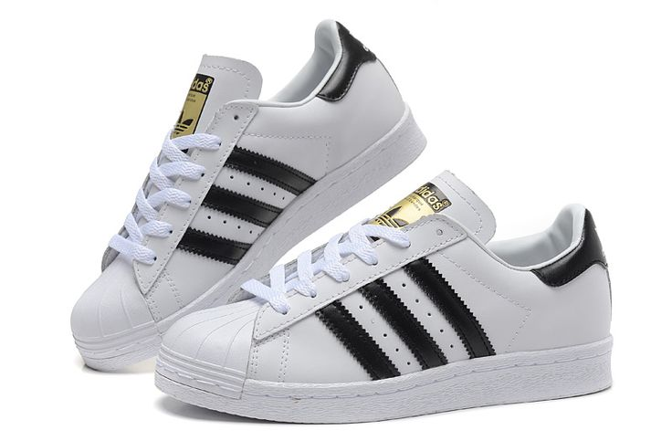2016 Adidas superstar Women Casual Sneakers white black gold