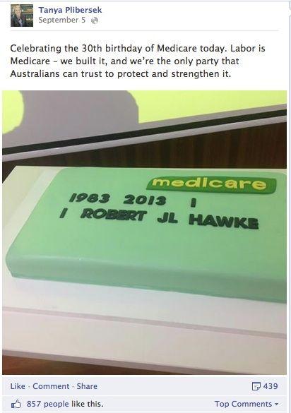Health Minister Tanya Plibersek's post celebrating Medicare