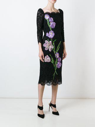 Dolce & Gabbana кружевное платье с вышивкой тюльпанов