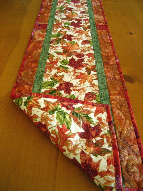 fall table runner | Autumn Blaze Quilted Table Runner