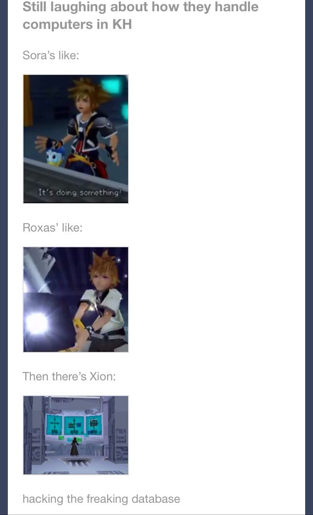 Computers in KH--and Donald walks on it, and Sora just hits the keyboard everywhere and yells at it...