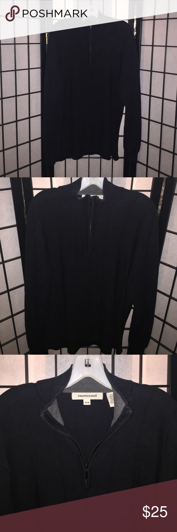 Mens Pronto Uomo Silk Sweater Size Medium Very nice! Classy! Men's Pronto Uomo Silk Sweater. Black with silver zip in front collar. Size medium. Excellent Preowned Condition. 55% Silk 27% Cotton 18% Viscose. Nonsmoking home. Pronto Uomo Sweaters Zip Up