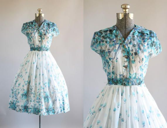 Vintage 1950s Dress / 50s Cotton Dress / J Harlan Originals Turquoise Floral Border Print Dress w/ Original Belt S/M