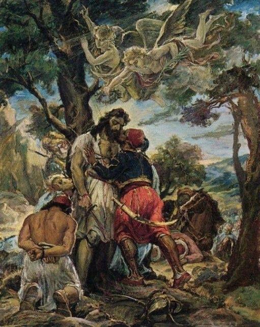«Το Φίλημα». Ελαιογραφία του Ανδρέα Γεωργιάδη, 1960. Το φίλημα του Ιμπραήμ στον νεκρό Παπαφλέσσα. Εθνικό Ιστορικό Μουσείο , Αθήνα αρ.κατ: 8151