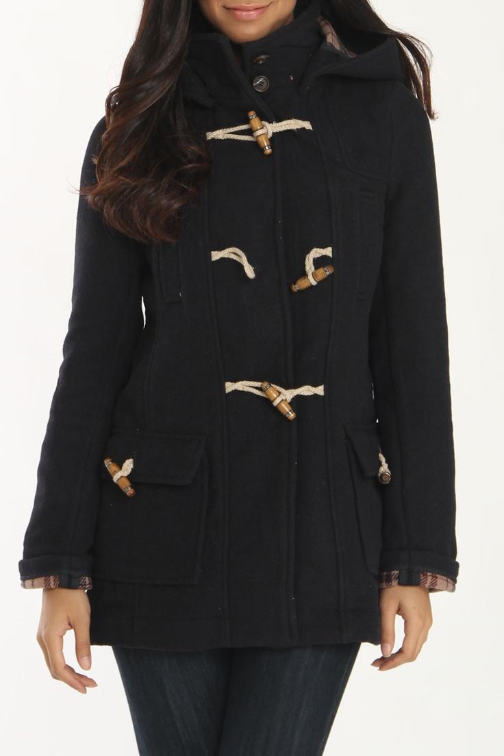 Wool Plaid Lined Toggle Jacket
