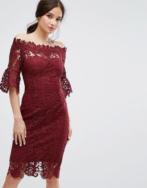 6699ccfb6390 Paper Dolls at ASOS Off Shoulder Crochet Dress With Frill Sleeve in Burgundy