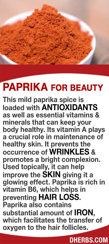 Paprika is loaded with antioxidants as well as essential vitamins minerals that can keep your body healthy. Its vitamin A plays a crucial role in maintenance of healthy skin, prevents the occurrence of wrinkles, promotes a bright complexion. Used topically it can help improve skin giving it a glowing effect. Paprika is rich in vitamin B6, which helps in preventing hair loss. It also contains substantial amount of iron, which facilitates the transfer of oxygen to the hair follicles. #dherbs…
