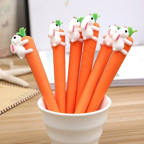 White Gel Ink Orange Little Bunny Pen Rabbits Carrots