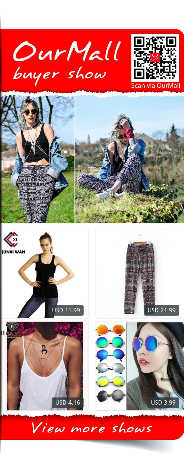 This is Saskia B.'s buyer show in OurMall;  1.Sexy Black Sport Yoga Racerback T-shirt Sexy Quick-dry Solid Tank Tops Loose Gym Fitness 2.Women's Pants Harem Trousers Pants with Elastic Waist Print Patterns Ladies 3.Hot Charming Body Chain Gold/Silver Color Summer Style Sex... please click the picture for detail. http://ourmall.com/?imeMby