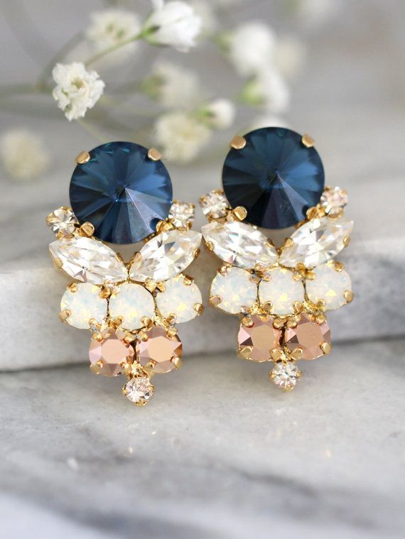 Blue Navy Earrings, Navy Blue Swarovski Earrings, Bridal Dark Blue Earrings, Gift For Her, Bridal Rose Gold Cluster Earrings,Blue Navy Studs  Dazzling Post Cluster Crystal earrings feature a Marquise Rivoli and Diamond cut crystals set on a secure prong settings. The perfect shade for cocktail parties or to add a touch of color to your wedding ensemble  Petite Delights is an Official SWAROVSKI® Branding Partner Our brand is legally licensed & authorized By Swarovski Company for high qual…