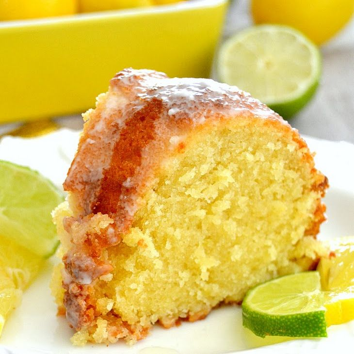 7-Up Pound Cake Recipe Desserts, Afternoon Tea with unsalted butter, white sugar, eggs, lemon juice, lime juice, vanilla extract, 7 Up, all-purpose flour, lime, lemon, glaze, powdered sugar, lime juice, 7 Up
