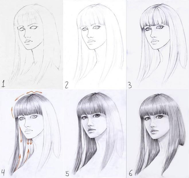 how to draw realistic hair easy