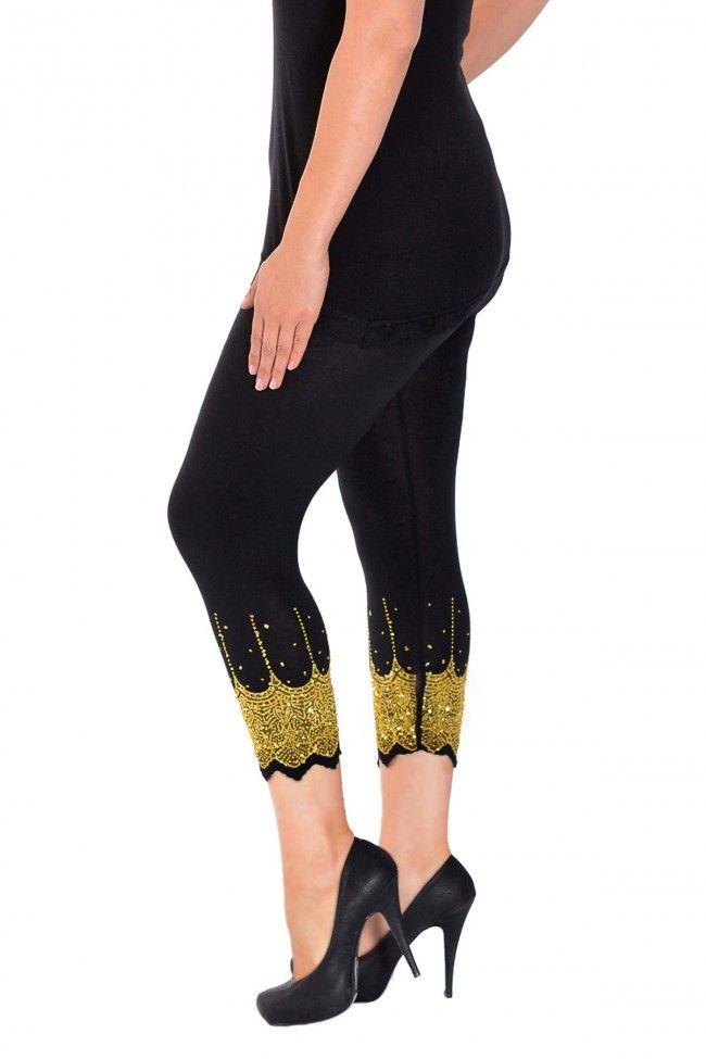 Embellished Scalloped Leggings - Black & Gold