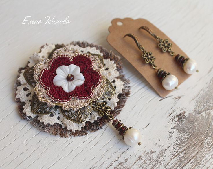 Set of brooch and earrings with natural pearl and garnet gem by SiberiaKnitting on Etsy