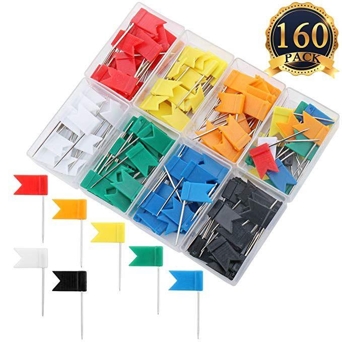 Subang 160 Pieces Push Pins Map Flag Push Tacks Assorted 7 Colors Pin Map Push Pin Map Stud Walls