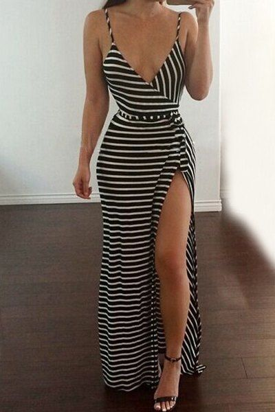 Sexy Women s Spaghetti Strap Striped High Slit Sleeveless Dress