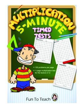 Multiplication 5-Minute Timed Tests Factors 0-12 Package  Copy and Go!  This 22-page package of Multiplication Tests is everything you need to assess your students basic skills in multiplication. There is a one-page multiplication test with 100 problems for each factor 0-12.  $