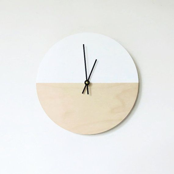 Wall Clock, Trending Minimalist Art,  Natural Wood and White,  Housewares, Home and Living, Unique Wall  Clock