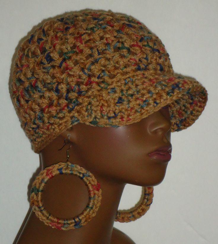 Autumn Jackson Mix Chunky Crochet Baseball Cap with Hoop Earrings by Razonda Lee Razondalee Ready to Ship