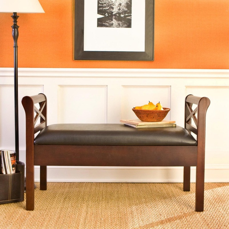 SEI Warrenton Espresso Storage Bench with Black Faux Leather Seat. 44 best Furniture   Benches images on Pinterest   Accent bench
