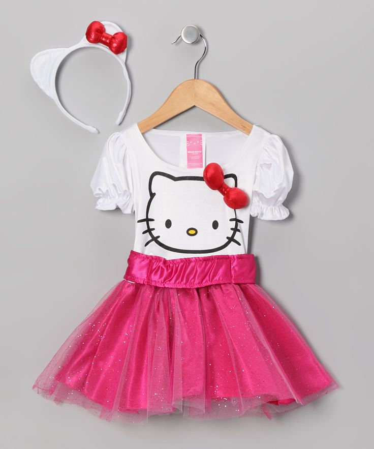 SO CUTE!!! White & Pink Hello Kitty Dress-Up Outfit - Toddler & Girls | Daily deals for moms, babies and kids