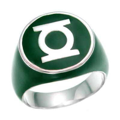 Green Lantern Inspired Silver Ring Full Green Jewelry