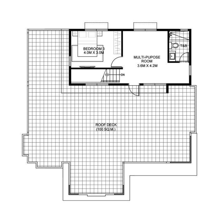 This Four Bedroom Modern House Design With Roof Deck Has A Total Floor Area Of 177 Square Me Modern House Floor Plans Modern House Design Beautiful House Plans