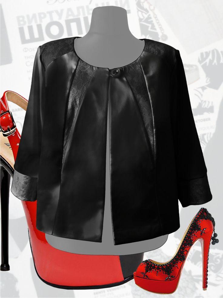 57$ Нарядное атласное болеро для полных женщин с ажурными вставками черного цвета Артикул 519, р50-64 Болеро из ткани большие размеры  Болеро летнее большие размеры