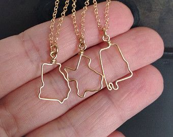 State Necklace State Outline Necklace Personalized by theFolk